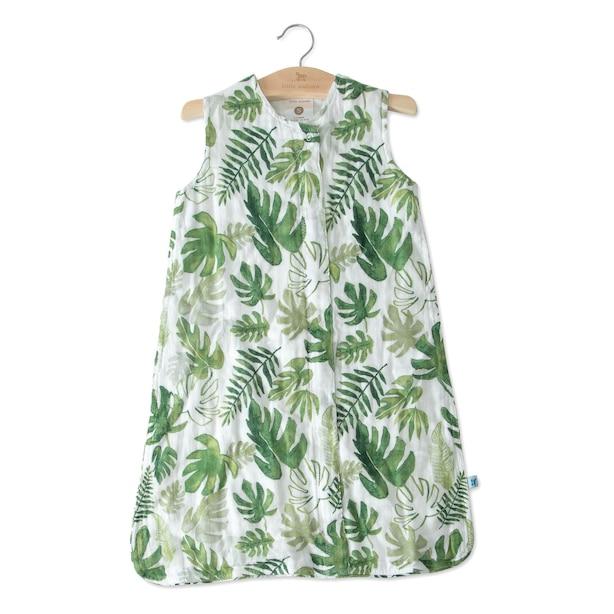 Little Unicorn Sleep Bag 100% Cotton Muslin 1.1 TOG Tropical Leaf Large 12 to 18 Months