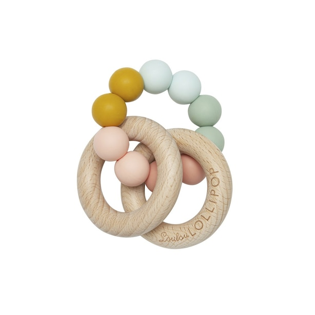 Loulou Lollipop Bubble Silicone and Wood Teether - Rainbow
