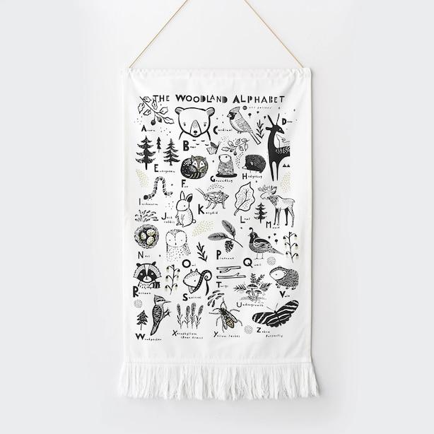 Wee Gallery Woodland Alphabet printed Tapestry