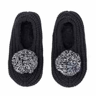 Pommed Rib Slippers, Black Medium/Large