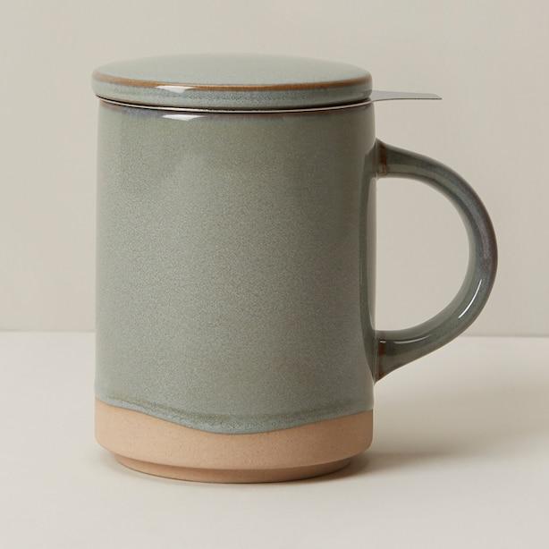DIPPED CERAMIC TEA MUG WITH STRAINER SAGE BRUSH