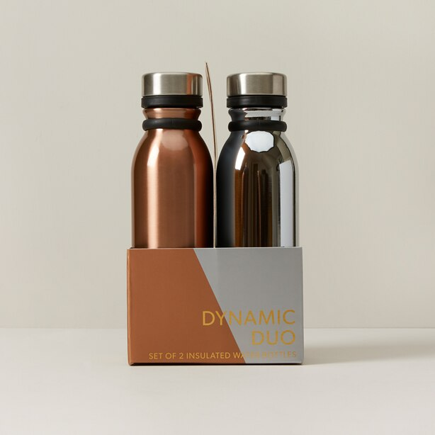 SET OF 2 WATER BOTTLES COPPER AND CHROME