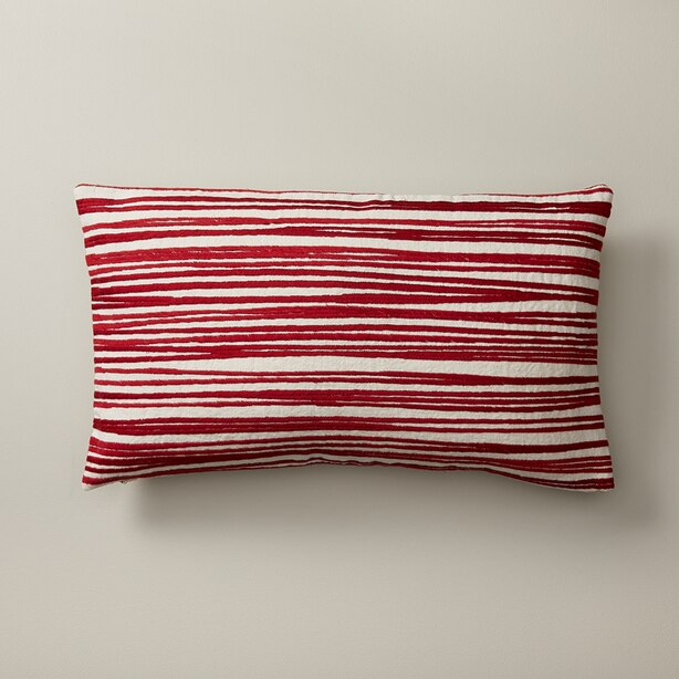 """EMBROIDERED PILLOW COVER SCRIBBLE STRIPES, RED 12"""" X 21"""""""
