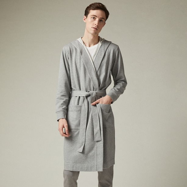TERRY HOODED ROBE, HEATHER GREY LARGE/X-LARGE
