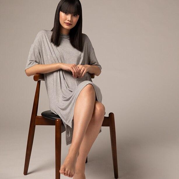 RELAXED LOUNGE DRESS, HEATHER GREY SMALL/MEDIUM