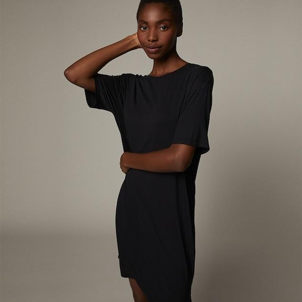 RELAXED LOUNGE DRESS, BLACK MEDIUM-LARGE