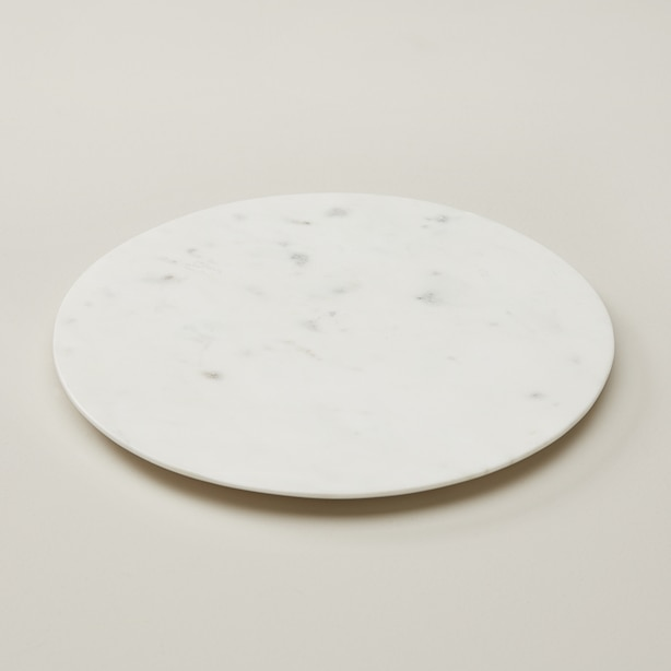 SMALL ROUND SERVING BOARD, WHITE MARBLE