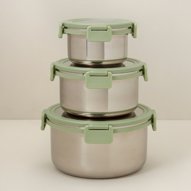 SET OF 3 STAINLESS STEEL FOOD CONTAINERS, FERN