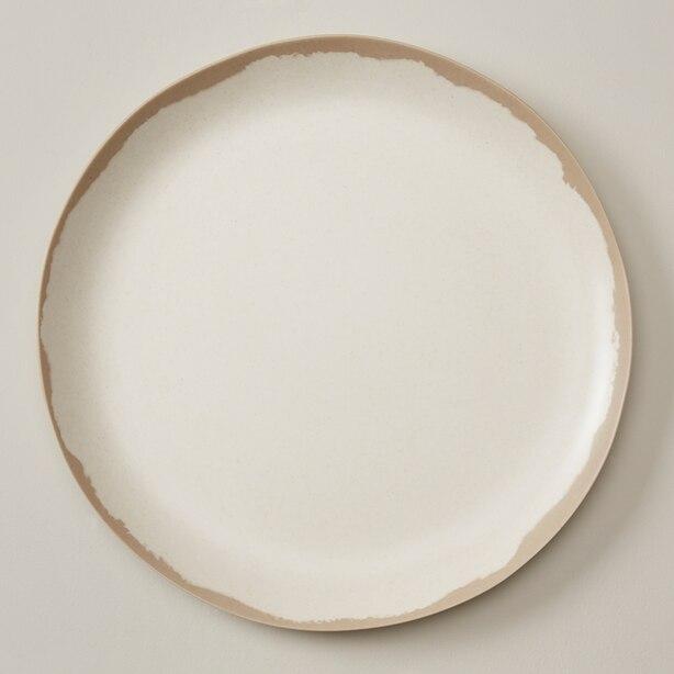 BAMBOO MELAMINE DINNER PLATE, WARM GREY