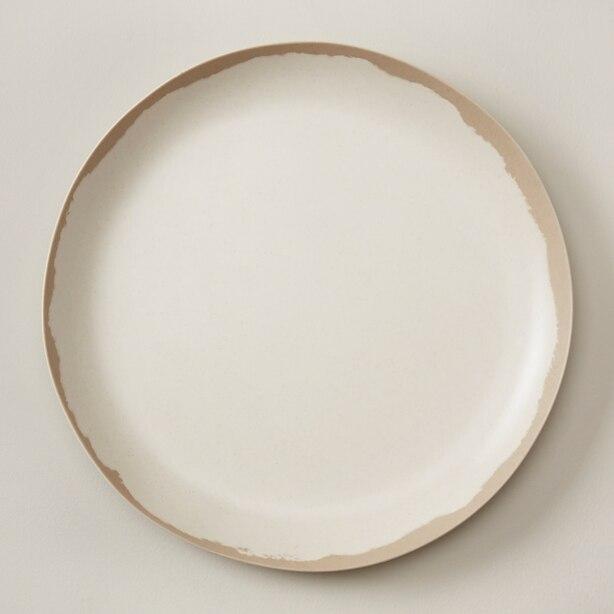 BAMBOO MELAMINE SALAD PLATE, WARM GREY