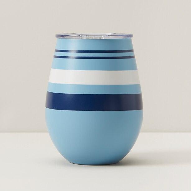 INSULATED WINE GLASS, BLUE STRIPES