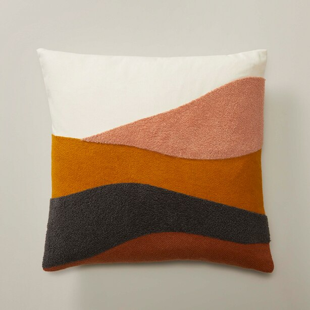 """EMBROIDERED PILLOW COVER LANDSCAPE, TURMERIC 18"""" X 18"""""""