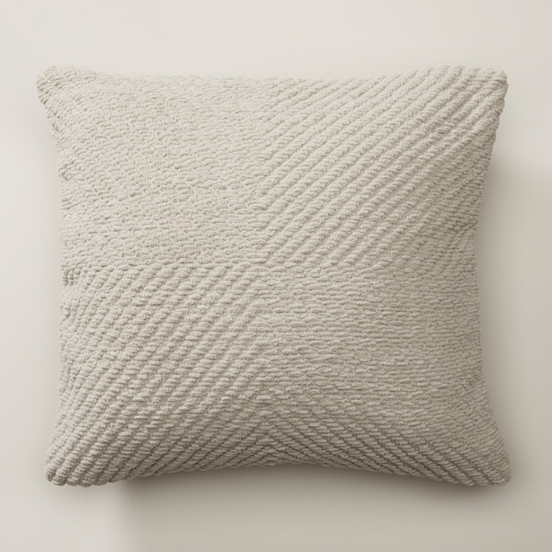 """RECYCLED CHEVRON CHENILLE PILLOW COVER, DOVE 18"""" X 18"""""""