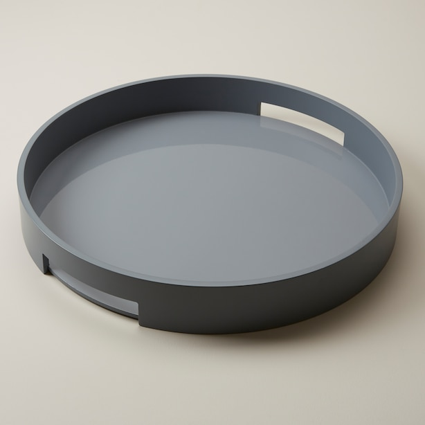 LARGE ROUND LACQUER TRAY, BLUE STONE