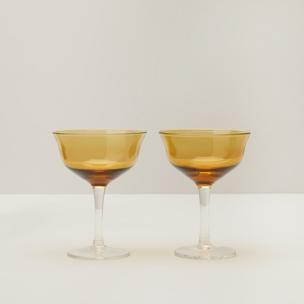 SET OF 2 COUPE GLASSES, AMBER
